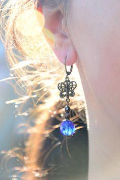 Butterfly earrings. Blue bead earrings.  Boho by Estibela on Etsy