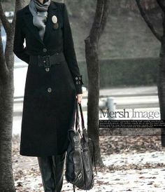 Gotta love a long coat. Long Winter Coats, Long Wool Coat, Wool Coats, Coats For Women, Jackets For Women, Cocktail Dress Prom, Long Jackets, Black Wool, Sweater Jacket