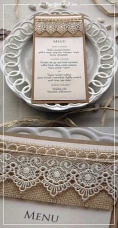 Lace Bridal Shower Dinner Menu that matches with your rustic, country and farm outdoor bridal shower. With this rustic lace menu, your guests will know what's for dinner. Bridal Shower Menu, Outdoor Bridal Showers, Bridal Shower Rustic, Rustic Wedding Stationery, Laser Cut Wedding Invitations, Bridal Bouquet Coral, Bridal Lace, Wedding Dinner Menu, Wedding Table