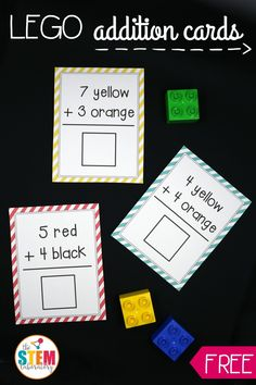 Awesome LEGO Addition Cards! What a fun, hands-on way to teach kids about adding. Perfect for kindergarten, first grade or second grade math.