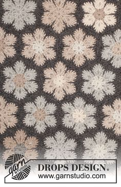 """Midnight Flurries - Crochet DROPS blanket with hexagons in """"Nepal"""". - Free pattern by DROPS Design"""