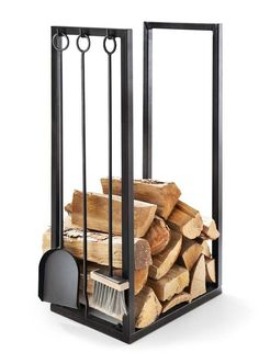 These indoor firewood storage ideas will help you pick the perfect rack for your firewood, keeping your home beautiful without leaving you broke. Firewood Stand, Indoor Firewood Rack, Firewood Holder, Recycled Trampoline, Strauss Innovation, Range Buche, Wood Logs, Fire Wood, Into The Woods