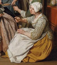 "1750 - 1770. Detail of ""Patrician Interior"" by Jan Jozef Horemans II (Flemish painter). Quilted jacket. Women -- Clothing & dress -- 1700-1799 -- Flanders. 18th century Flemish costume."