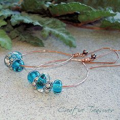 Ocean Healer - Lampwork Earrings with Copper and Sterling Silver | by ctbydonna