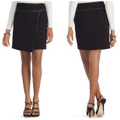 White House Black Market Leather Trim Skirt So chic and perfect dressed up or down! Excellent pre worn condition, like new. Size 6. Asymmetrical hem with faux leather trim. No trades!! 03141640gwb White House Black Market Skirts Mini