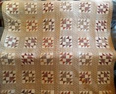 Antique Quilt Early Browns & Madder Fabric Old Maids Puzzle   83 x 85 #HandStitched