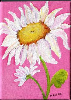 White Shasta daisies on Canvas painting pink by SharonFosterArt, $32.50