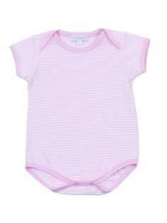 Baby girl pink bodysuit with pink hand embroidered detail, made from the finest pima cotton