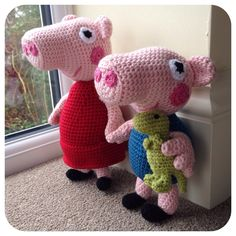 Ravelry is a community site, an organizational tool, and a yarn & pattern database for knitters and crocheters. Crochet Ideas, Crochet Projects, George Pig, Peppa Pig, Ravelry, Dinosaur Stuffed Animal, Dolls, Pattern, Animals