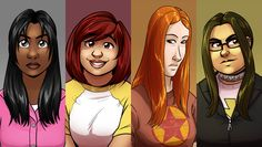 """The Hues: Alex Heberling's awesome webcomic about four magical and amazing young women.""""If you like comics with all-female leads, magical girls, girls of color, queer girls, fat girls, thin girls, girly girls, tomboy girls, AND said girls punching aliens, then have I got the comic for you."""" Here, take all my money."""