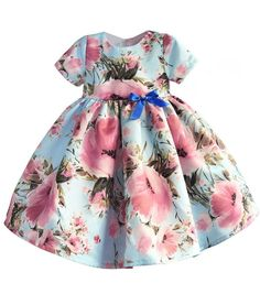 Floral Dress-Beautiful & Cheap Round Neckline Short Sleeve Knee Length Baby Infant Toddler Little & Big Girl Flower Dress. Available from 12 months - 6 years. Materials: Cotton & Polyester. Colors: Pink & Blue. Please do compare your little girl's measurements with our size chart (Fits true to size).
