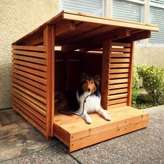 Redwood dog house $600 was created by Etsy shop designer and dog lover Sara Strong of StrongWoodStudio. This summer doghouse's walls are made of 1x2 redwood slats. - Tap the pin for the most adorable pawtastic fur baby apparel! You'll love the dog clothes and cat clothes! <3