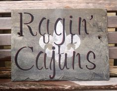 ULL Ragin Cajuns Fleur de lis on Recycled by NewOrleanSlateDesign, $35.00