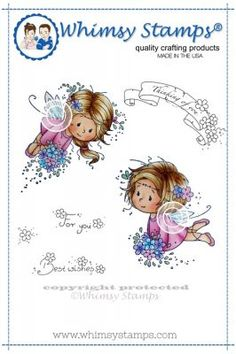 "Whimsy Stamps/Wee Stamps """"Flower Fairies"""" Rubber Stamp"
