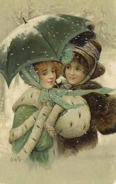 Old Post Card — A walk in the snow   (417×660)