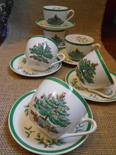 """Set of 6 Spode """"Christmas Tree"""" Tea cups and Saucers England pristine~mint~unused condition"""
