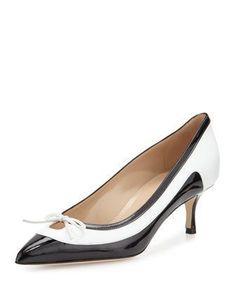 Aterf Bicolor Combo Kitten Heel Pump, Black/White by Manolo Blahnik at Bergdorf Goodman. #manoloblahnikheelsbergdorfgoodman