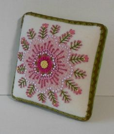 Handmade Needle Cushion Felted Wool Pink Blossom Pin Cushion - 1 x 5 sq. Felted wool applique with pearl cotton embroidery makes me Felt Applique, Applique Quilts, Crewel Embroidery, Beaded Embroidery, Felted Wool, Wool Felt, Needle Cushion, Wool Quilts, Penny Rugs
