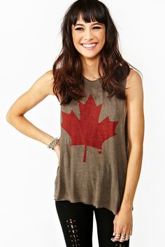 Okay, seriously, someone needs to get this for me!  Maple Leaf Muscle Tee via Nasty Gal