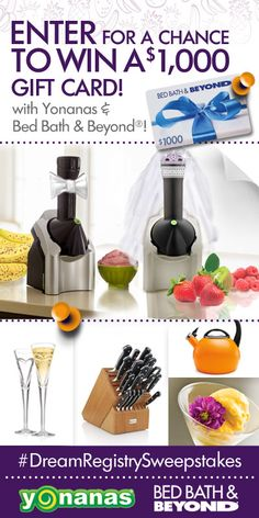 Win a gift card with Yonanas and Bed Bath Beyond Dream registry sweeps Thing 1, Perfume, Bed & Bath, Cool Things To Buy, Cool Stuff, Free Stuff, Random Stuff, Gifts, Bedside Caddy