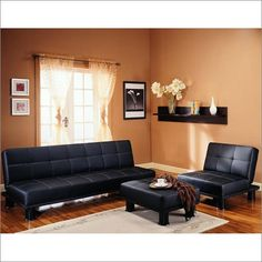 """Sofa Kathy Ireland Phyllo Sleeper Sofa by Kathy Ireland. $399.00. Dimensions: 75"""" W x 35"""" D x 33"""" H. Positions: Sleep, Upright. Color: Black. This contemporary Klik-Klak (sleeper sofa) features tufting on the seat, decorative baseball stitching, and cylindrical legs. Featuring luxurious Faux leather accented by the stitching style and the vibrant Black colors that bring out the natural textures of the Klik-Klak, this Phyllo Klik-Klak is sure to bring extravagan..."""