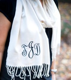 Monogrammed cashmere scarves for bridesmaids gifts $22 each