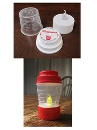 Doll camping lantern using a battery tea light, medicine cup and medicine bottle lid