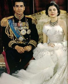Princess Soraya on her wedding gown, 1951.Look at the Iranian princess Soraya's Christian Dior wedding dress! Apparently it was made of 37 yards of silver lame, 20,000 feathers and 6,000 diamonds pieces.