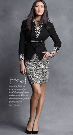 Wear-to-work fashion: two leopard prints paired with an edgy jacket Business Professional Outfits, Business Fashion, Business Women, Work Chic, Estilo Fashion, Office Outfits, Office Wear, Work Outfits, Work Attire