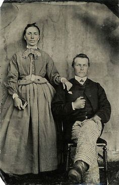 This is one of the crudest daguerreotypes I have seen. I rather think it was taken by an itinerant daguerrian, who lacked any artistic sensibilities. The man is dressed to the nines, but the woman is wearing working clothes that she has tried to redeem with collar, cuffs and neckcloth. She has a ring on her forefinger and a crucifix at her waist. I wonder about her and hope she was happy. 1850s