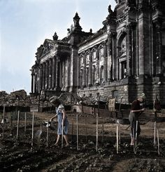 https://flic.kr/p/U8Reya |☺Reichstag during postwar | This picture depicts the Reichstag building, nowadays the Parliament of Germany. A great battle was fought inside these walls, but after the war, civilians used to grow up their vegetables at the Tiergarten, gardening the ruins of the building.  c. 1945   #historiansunion #colored #colorized #history #ww2 #wwii #worldwartwo #military #war #germany #nazi #berlin #buildings #postwar #tiergarten #bundestag #reichstag #vegetables