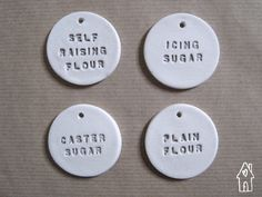 Baking Jar Labels, Pantry Labels, Kitchen Tags, Plain Flour, Self Raising Flour, Caster Sugar, Icing Sugar, White Clay Tags, Old Flour House by oldflourhouse on Etsy https://www.etsy.com/uk/listing/511921727/baking-jar-labels-pantry-labels-kitchen
