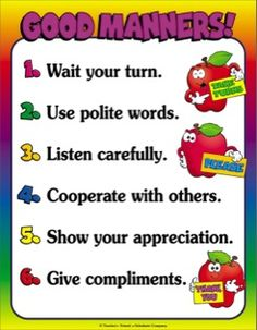 Good Manners Chart--the chart was based on rules formulated by the Children's… Manners Preschool, Manners Activities, Manners For Kids, Good Manners, English Activities, Preschool Activities, Teaching Manners, Preschool Quotes, Table Manners