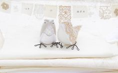 Love Birds Light Grey and Vintage Lace by cottonbirddesigns, £83.00