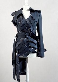 Upcycled Fashion - woven jacket design made from repurposed belts - sustainable fashion design; recycled clothing // Maison Martin Margiela