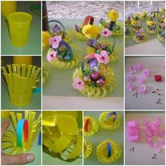 DIY mini May basket-from-plastic-cup #diy #crafts #Easter