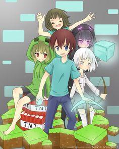 Minecraft | Anime versions of Steve, Creeper, Skeleton, Enderman, and Zombie xD #minecraft #anime