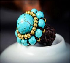 Hand Made Gemstone Ring Braid Wax String Flower Turquoise Ring Bohemian Style Mixed Style Solitaire Ring