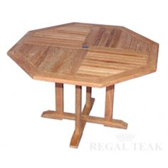 52 Natural Teak Octagon Outdoor Patio Wooden Dining Table, Brown, Patio Furniture