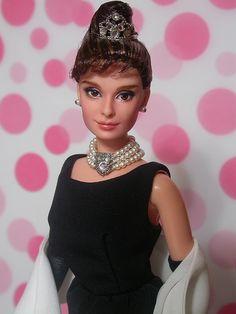 OOAK Mattel BAT Barbie doll repaint as Audrey Hepburn Holly Golightly by Jaw