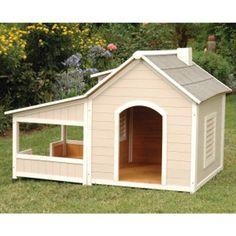Precision Pet Outback Savannah Dog House with Porch - Dog Houses at Dog Houses Dog House With Porch, Wood Dog House, Luxury Dog House, Canis, Insulated Dog House, Dog House Plans, Cat Enclosure, Animal House, Dog Houses