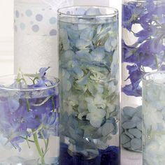 Flowers, Reception, Centerpiece, Submerged, Vase glass, Stones, Vase cylinder, Vendor party town, Flower hydrangea, Color blue
