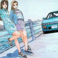 Initial D Mako and Sayuki Japanese Cars, Japanese Prints, Jdm Wallpaper, Initial D, Street Racing Cars, Skateboard Design, Ae86, Car Drawings, Retro Aesthetic