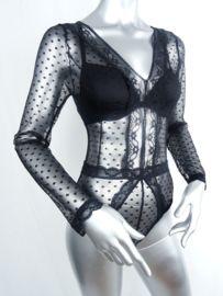 V-neck Sheer bodysuit