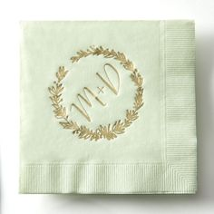 Personalize your own Mint cocktail napkins with Satin Gold foil! They add the perfect touch to your wedding!~ https://www.etsy.com/shop/ForYourParty