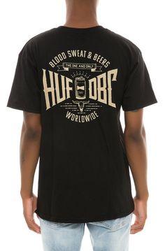 HUF Tee Blood Sweat Beers Black