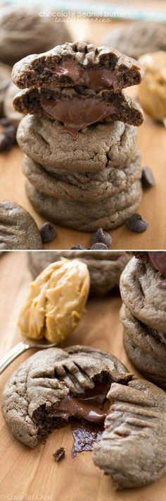 Chocolate Peanut Butter Truffle Cookies are a chocolate peanut butter cookie and they're filled with a peanut butter chocolate truffle!