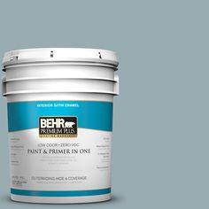 BEHR Premium Plus 5-gal. #bxc-28 Bucolic Blue Satin Enamel Interior Paint