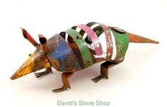 Recycled-Metal-Yard-Folk-Art-12-Long-Mini-Colorful-Armadillo-Sculpture-MI452-11
