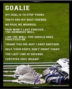 Buy a Lacrosse Goalie Sport Poster Print to motivate your goalie! Inspirational Lacrosse Goalie Quotes will make them laugh and show how much they love lacrosse. Lacrosse Sport, Lacrosse Gear, Soccer Goalie, Girls Lacrosse, Soccer Memes, Goalie Quotes, Lacrosse Quotes, Basketball Quotes, Women's Basketball